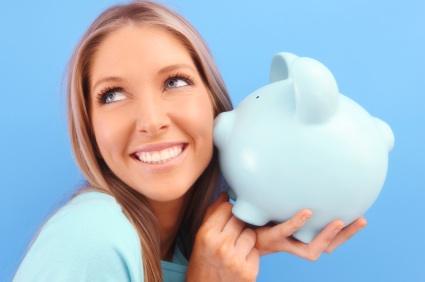 woman piggy bank